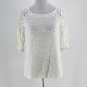 Postmark White Parrell Lace Top Blouse Size Small